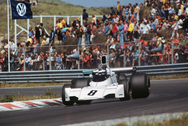 Zandvoort, Holland. 21st - 23rd June 1974.Rikky von Opel (Brabham BT44-Ford), retired, action.World Copyright: LAT Photographic.Ref: Colour transparency.