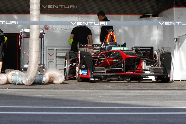 Miami e-Prix 2015. First Practice Session Venturi Garage. FIA Formula E World Championship. Miami, Florida, USA. Saturday 14 March 2015.  Copyright: Adam Warner / LAT / FE ref: Digital Image _A8C1964