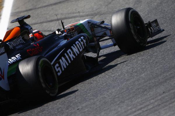 Circuit de Catalunya, Barcelona, Spain. Friday 9 May 2014. Nico Hulkenberg, Force India VJM07 Mercedes. World Copyright: Andy Hone/LAT Photographic. ref: Digital Image _ONY8593