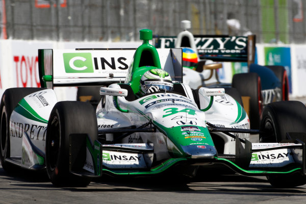 11-13 April, 2014, Long Beach, California USA Carlos Munoz leads Mike Conway ©2014, Phillip Abbott LAT Photo USA