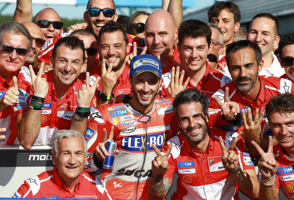 2017 MotoGP Championship - Round 12 Silverstone, Northamptonshire, UK. Sunday 27 August 2017 Race winner Andrea Dovizioso, Ducati Team World Copyright: Gold and Goose / LAT Images ref: Digital Image 1052