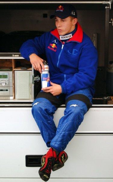 Christian Klien (AUT) JD Motorsport, winner of race 1, 3rd in race 2, celebrates on the podium.German Formula Renault Championship, Rd6, Races 11 and 12, Nurburgring, Germany. 22 September 2002.DIGITAL IMAGE