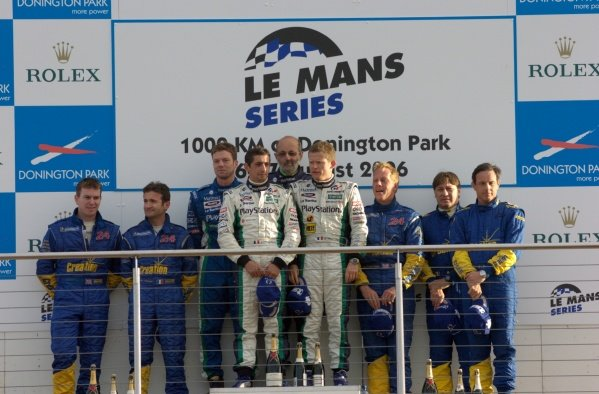 LMP1 podium and results:1st: Didier Andre (FRA) / Jean-Christophe Boullion (FRA) / Emmanuel Collard (FRA) Pescarolo Sport, centre, with Henri Pescarolo (FRA).2nd: Kevin McGarrity (GBR) / Nicolas Minassian (FRA) Creation Autosportif, left.3rd: Jamie Campbell-Walter (GBR) / Beppe Gabbiani (ITA) / Felipe Ortiz (SUI) Creation Autosportif, right.Le Mans Series, Rd4, Donington Park, England, 28 August 2006.DIGITAL IMAGE