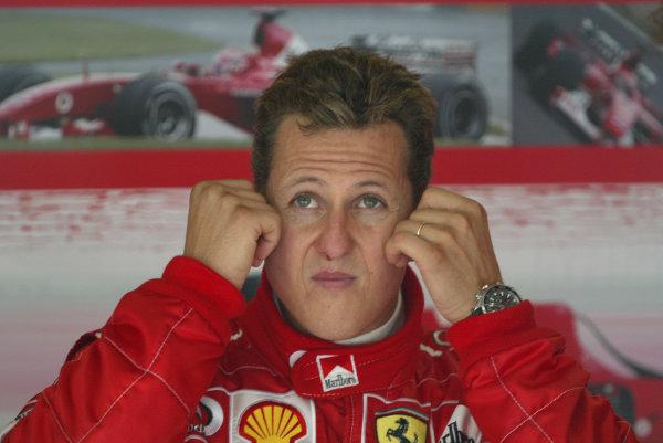 2003 San Marino Grand Prix - Saturday Final Qualifying,Imola, Italy. 19th April 2003 Michael Schumacher, Ferrari F2002, portrait.World Copyright: Steve Etherington/LAT Photographic ref: Digital Image Only