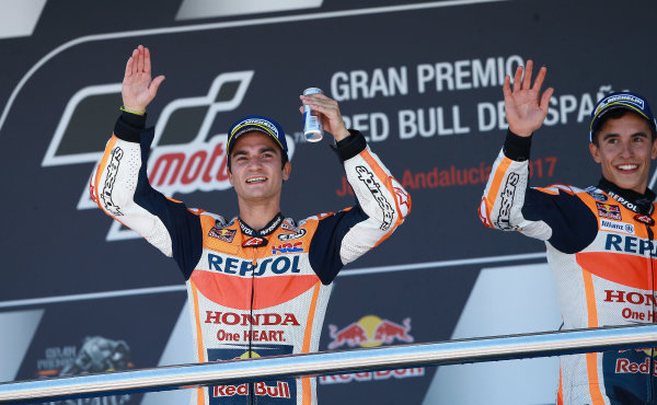 2017 MotoGP Championship - Round 4 Jerez, Spain Sunday 7 May 2017 Podium: Race winner Dani Pedrosa, Repsol Honda Team, second place Marc Marquez, Repsol Honda Team World Copyright: Gold & Goose Photography/LAT Images ref: Digital Image 668751