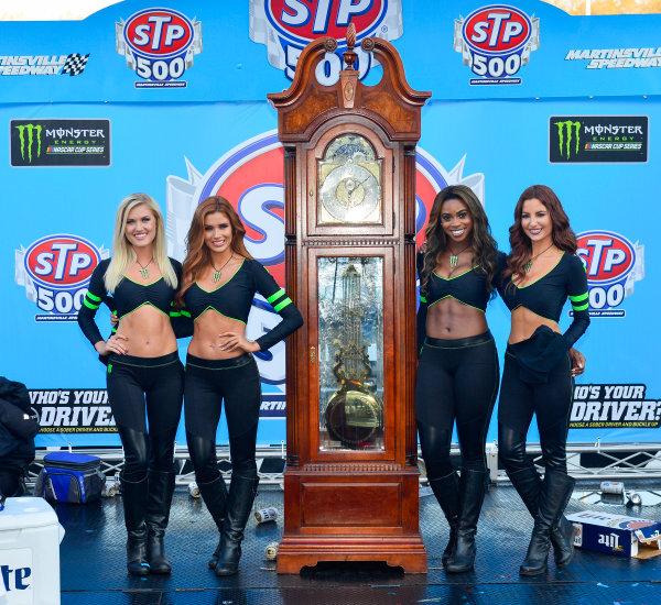 2017 Monster Energy NASCAR Cup Series STP 500 Martinsville Speedway, Martinsville, VA USA Sunday 2 April 2017 Monster Girls in victory lane World Copyright: Logan Whitton/LAT Images ref: Digital Image 17MART1LW2813