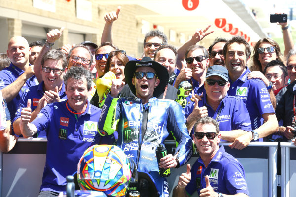 2017 MotoGP Championship - Round 3 Circuit of the Americas, Austin, Texas, USA Sunday 23 April 2017 Second place Valentino Rossi, Yamaha Factory Racing World Copyright: Gold and Goose Photography/LAT Images ref: Digital Image MotoGP-Post-300-2835