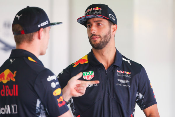Circuit de Catalunya, Barcelona, Spain. Friday 12 May 2017. Max Verstappen, Red Bull, talks with Daniel Ricciardo, Red Bull Racing. World Copyright: Charles Coates/LAT Images ref: Digital Image AN7T5112