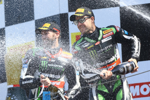 2017 Superbike World Championship - Round 4 Assen, Netherlands. Sunday 30 April 2017 Podium: race winner Jonathan Rea, Kawasaki Racing, second place Tom Sykes, Kawasaki Racing World Copyright: Gold and Goose Photography/LAT Images ref: Digital Image WSBK-1237