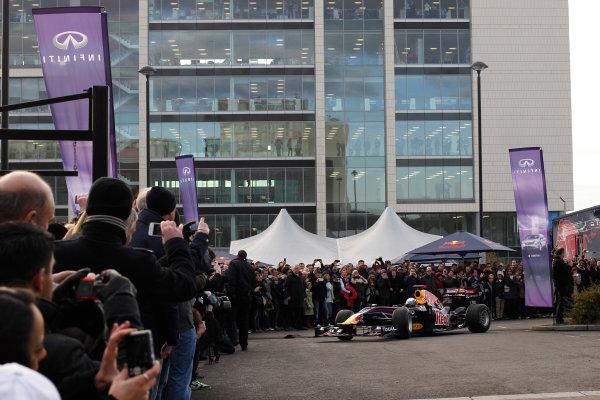 Milton Keynes.  Saturday 10th December 2011.Sebastian Vettel, Red Bull Racing RB7 Renault in action during the Red Bull Racing home run.Photo: LAT Photographic.Ref: Digital Image _Q0C6908 jpg
