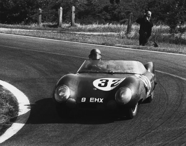 Le Mans, France. 28th - 29th July 1956 Colin Chapman/Herbert Mackay-Fraser (Lotus Eleven Climax), retired, action. World Copyright: LAT Photographic Ref: B/W Print.