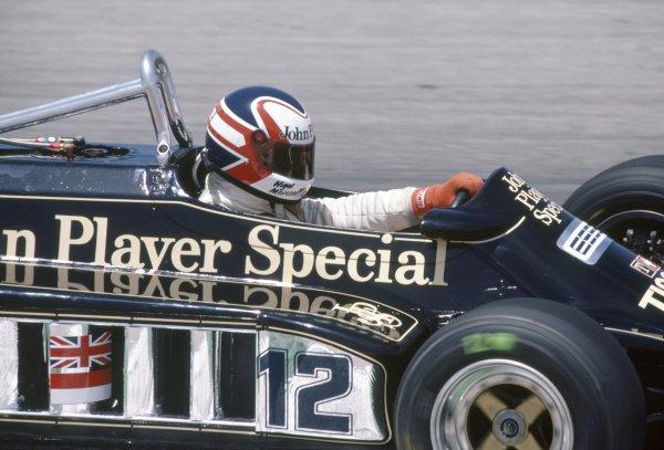 1981 Spanish Grand Prix.Jarama, Spain. 19-21 June 1981.Nigel Mansell (Lotus 87-Ford Cosworth), 6th position.World Copyright: LAT PhotographicRef: 35mm transparency 81ESP10