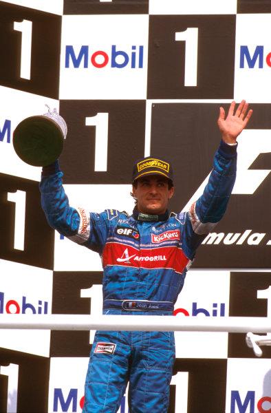 Hockenheim, German.26-28 July 1996.Jean Alesi (Benetton Renault) 2nd position on the podium.Ref-96 GER 03.World Copyright - LAT Photographic