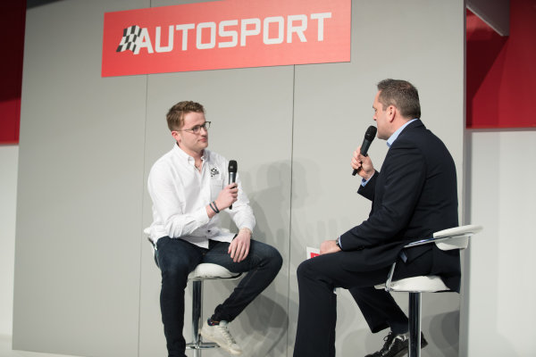 Autosport International Exhibition. National Exhibition Centre, Birmingham, UK. Friday 12th January 2017. Gus Greensmith, British Rally Junior Champion on the Autosport stage with Henry Hope-Frost.World Copyright: Ashleigh Hartwell/LAT Images ref: Digital Image _O3I8588