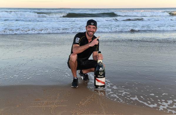 Jean-Eric Vergne (FRA), TECHEETAH, Renault Z.E. 17, celebrates on the beach
