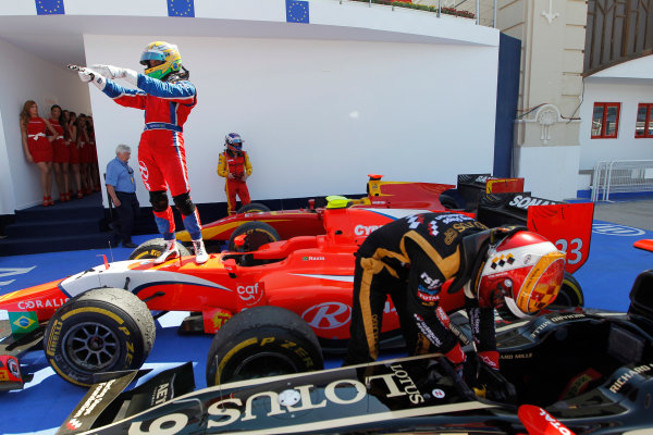 Valencia Street Circuit, Valencia, Spain.  24th June 2012. Sunday Race. Luiz Razia (BRA, Arden International) celebrates his victory. Photo: Andrew Ferraro/GP2 Media Service. Ref: Digital Image _Q0C9937.jpg