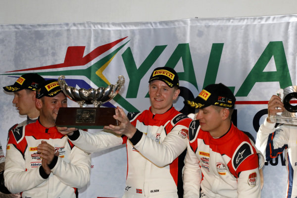 Podium: Winner #31 Frikadelli Racing Team Porsche 911 GT3 R: Dennis Olsen, Mathieu Jaminet, Nick Tandy.