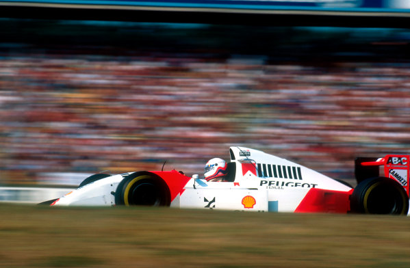 1994 German Grand Prix.Hockenheim, Germany.29-31 July 1994.Martin Brundle (McLaren MP4/9 Peugeot). He exited the race with an engine problem.Ref-94 GER 38.World Copyright - LAT Photographic