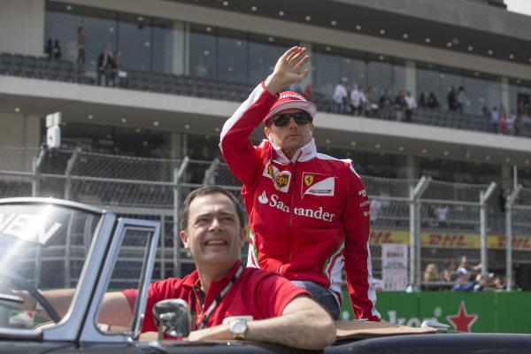 Kimi Raikkonen (FIN) Ferrari on the drivers parade on the drivers parade at Formula One World Championship, Rd19, Mexican Grand Prix, Race, Circuit Hermanos Rodriguez, Mexico City, Mexico, Sunday 30 October 2016.