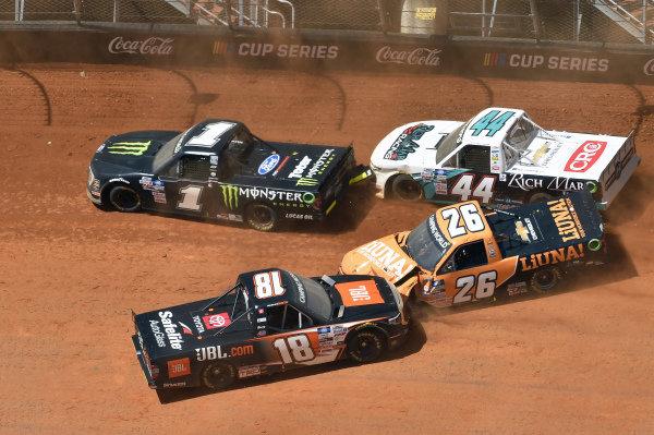 #1: Hailie Deegan, Team DGR, Ford F-150 Monster Energy, #18: Chandler Smith, Kyle Busch Motorsports, Toyota Tundra JBL, #26: Tyler Ankrum, GMS Racing, Chevrolet Silverado Liuna!