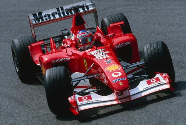 2002 Belgian Grand Prix.Spa-Francorchamps, Belgium. 30/8-1/9 2002.Rubens Barrichello (Ferrari F2002).Ref-02 BEL 44.World Copyright - Clive Rose/LAT Photographic