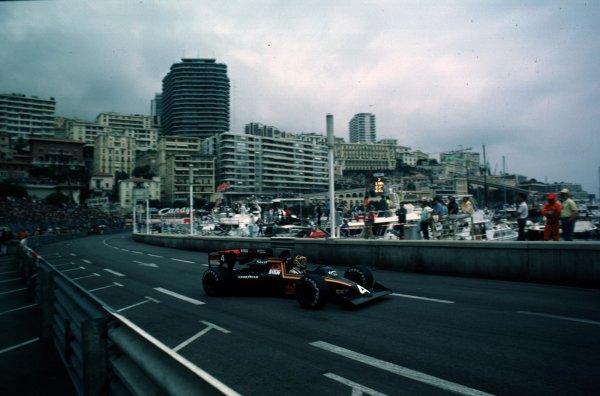 1984 Monaco Grand Prix, Monte Carlo, Monaco.31/5-3/6 1984.Stefan Bellof (Tyrrell 012 Ford) 3rd position. He would lose his position at the end of the season, after the Tyrrell team was disqualified from the World Championship due to fuel irregularities. World Copyright - LAT Photographic
