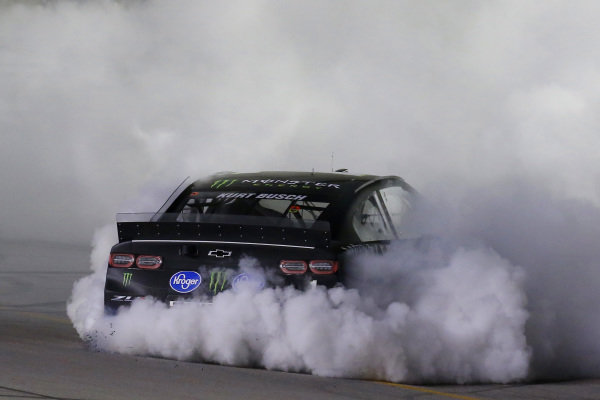 #1: Kurt Busch, Chip Ganassi Racing, Chevrolet Camaro Monster Energy celebrates his win with a burnout