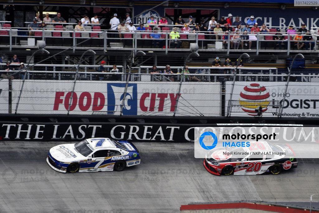 #7: Justin Allgaier, JR Motorsports, Chevrolet Camaro ARMOUR Vienna Sausage and #20: Christopher Bell, Joe Gibbs Racing, Toyota Supra Rheem