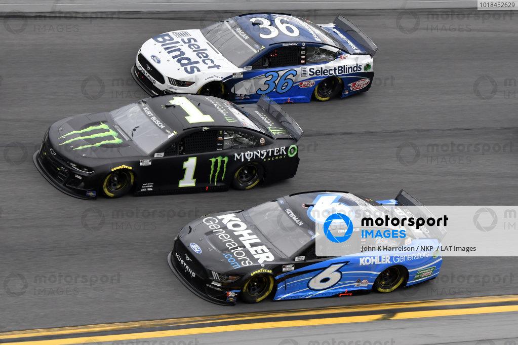 #1: Kurt Busch, Chip Ganassi Racing, Chevrolet Camaro Monster Energy #36: David Ragan, Front Row Motorsports, Ford Mustang  #6: Ryan Newman, Roush Fenway Racing, Ford Mustang Kohler Generators