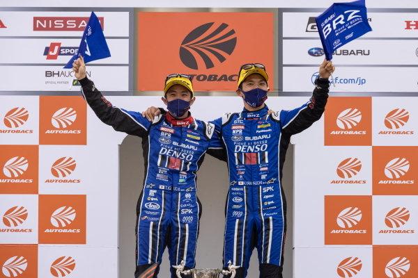 GT300 winners Takuto Iguchi & Hideki Yamauchi, R&D Sport, Subaru BRZ MC GT300, celebrate on the podium