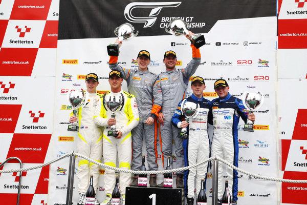 Race 2 GT4 Silver Podium (l-r) Tom Canning / Ashley Hand TF Sport Aston Martin V8 Vantage GT4, Jordan Collard / Lewis Proctor Tolman Motorsport McLaren 570S GT4, Callum Pointon / Dean Macdonald HHC Motorsport McLaren 570S GT4