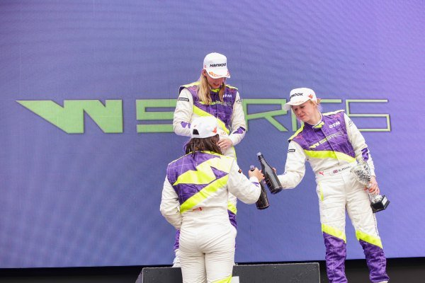 Beitske Visser (NLD), celebrates on the podium after winning the race with Jamie Chadwick (GBR) and Alice Powell (GBR)
