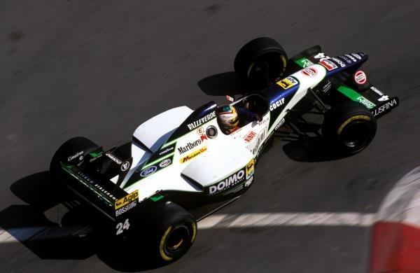 Luca Badoer (ITA) Minardi M195. Formula One World Championship,  Monaco Grand Prix, Monte Carlo, Monaco. 28 May 1995.