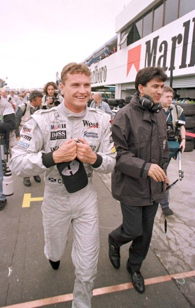 1998 Argentinian Grand Prix.Buenos Aires, Argentina.10-12 April 1998.David Coulthard (McLaren MP4/13 Mercedes-Benz) after qualifying on pole position.World Copyright - Coates/LAT Photographic