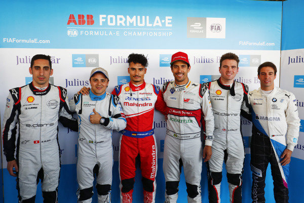 Sébastien Buemi (CHE), Nissan e.Dams, Felipe Massa (BRA), Venturi Formula E, Pascal Wehrlein (DEU), Mahindra Racing, Lucas Di Grassi (BRA), Audi Sport ABT Schaeffler, Oliver Rowland (GBR), Nissan e.Dams, and Antonio Felix da Costa (PRT), BMW I Andretti Motorsports.