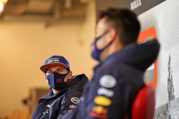 Max Verstappen, Red Bull Racing and Alexander Albon, Red Bull Racing in the press conference