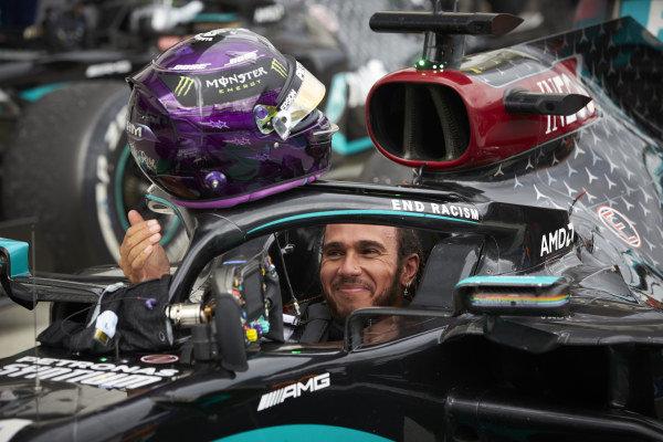 Lewis Hamilton, Mercedes-AMG Petronas F1, celebrates victory in parc ferme