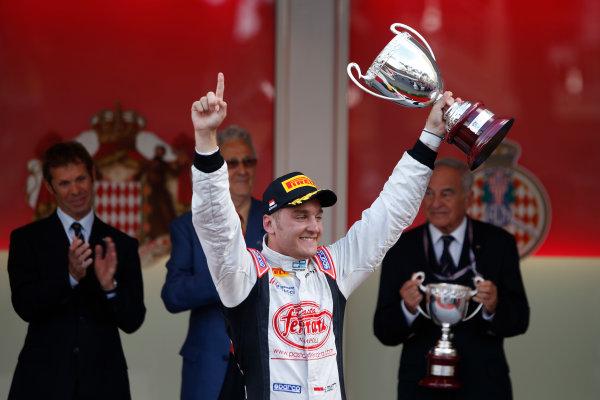 2013 GP2 Series. Round 4.  Monte Carlo, Monaco. 54th May 2013. Saturday Race. Stefano Coletti (MON, Rapax) celebrates his victory on the podium.  World Copyright: Glenn Dunbar/GP2 Series Media Service. Ref: _89P2807