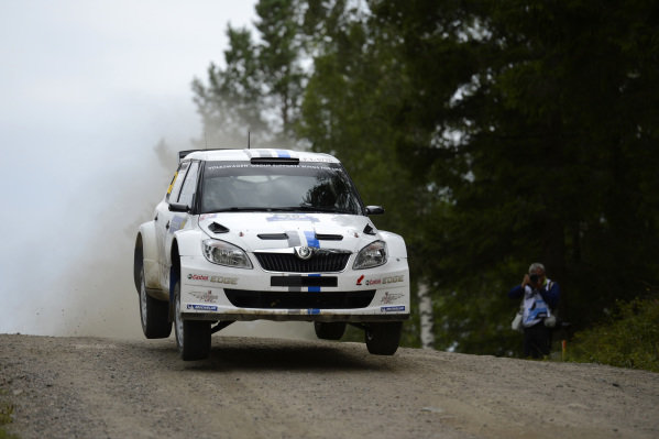 Sebastien Ogier (FRA) and Julien Ingrassia (FRA), Skoda Fabia S2000 on stage 10. FIA World Rally Championship, Rd8, Neste Rally Finland, Jyvaskyla, Finland. Day Two, Friday 3 August 2012.