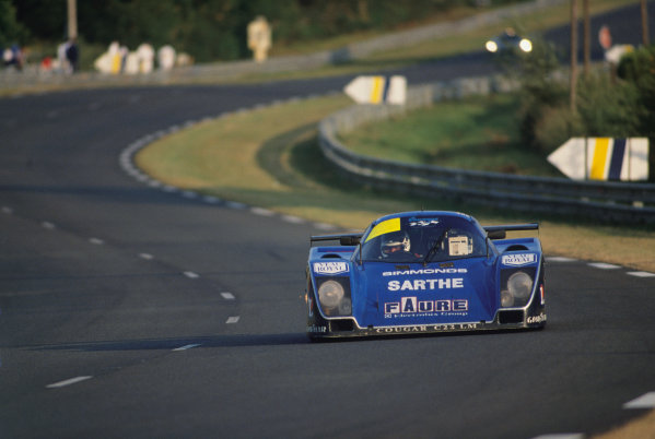 Le Mans, France. 10th - 11th June 1989.Patrick Gonin/Bernard de Dryver/Bernard Santal (Cougar C22LM Porsche), retired, action. World Copyright: LAT Photographic.Ref: 89LM49