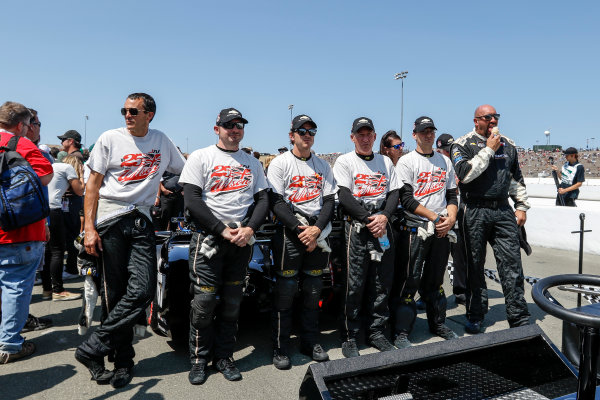 28-30 August, 2015, Sonoma, California USA Josef Newgarden crew wearing Justin Wilson tribute T-shirts during pre race ceremonies  ?2015, Sam Cobb LAT Photo USA