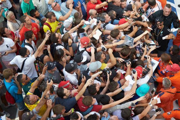 Autodromo Nazionale di Monza, Monza, Italy. Thursday 3 September 2015. Lewis Hamilton, Mercedes AMG, signs autographs for fans. World Copyright: Steve Etherington/LAT Photographic ref: Digital Image SNE23394