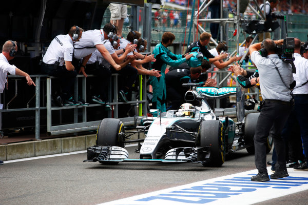 Spa-Francorchamps, Spa, Belgium. Sunday 23 August 2015. Lewis Hamilton, Mercedes F1 W06 Hybrid, 1st Position, arrives in Parc Ferme. World Copyright: Steven Tee/LAT Photographic ref: Digital Image _L4R2457