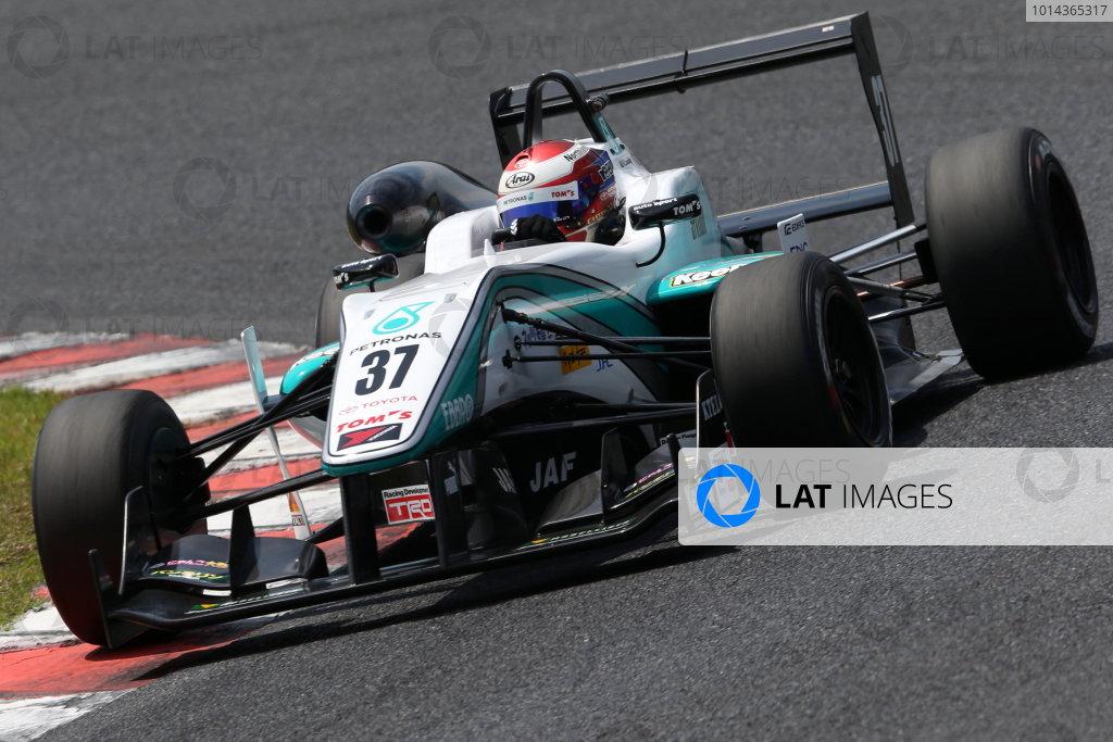 2015 Japanese Formula 3 Championship. Okayama, Japan. 23rd - 24th May 2015. Rd 6 & 7. Rd.7 2nd position Nick Cassidy ( #37 PETRONAS TOM'S F314 ) action World Copyright: Masahide Kamio/LAT Photographic. Ref:  2015JF3_Rd6&7_012