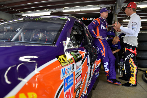 Monster Energy NASCAR Cup Series Overton?s 301 New Hampshire Motor Speedway, Loudon, NH USA Friday 14 July 2017 Denny Hamlin, Joe Gibbs Racing, FedEx Office Toyota Camry and Jamie McMurray, Chip Ganassi Racing, GearWrench Chevrolet SS World Copyright: Nigel Kinrade LAT Images