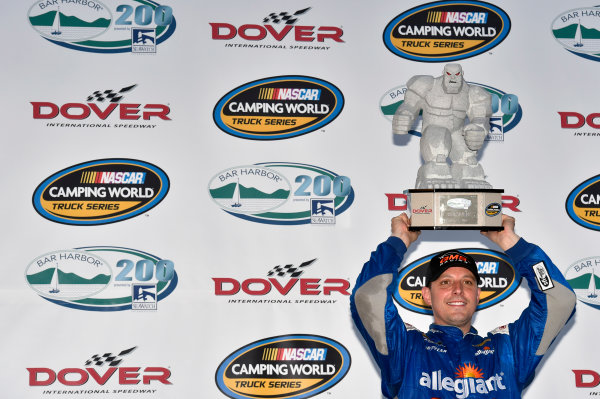 NASCAR Camping World Truck Series Bar Harbor 200 Dover International Speedway, Dover, DE USA Friday 2 June 2017 Johnny Sauter, Allegiant Airlines Chevrolet Silverado celebrates his win in Victory Lane World Copyright: Nigel Kinrade LAT Images ref: Digital Image 17DOV1nk06927