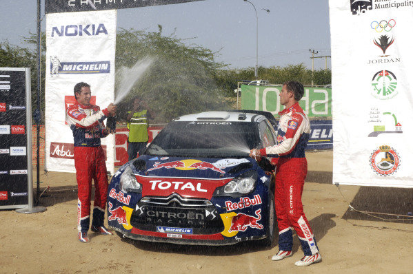 R-L: Sebastien Ogier (FRA) and co-driver Julien Ingrassia (FRA), Citroen DS3 WRC, wins the Power stage and the rally by just 0.2s.World Rally Championship, Rd4, Rally Jordan, Dead Sea, Amman, Jordan, Day 3, Saturday 16 April 2011.