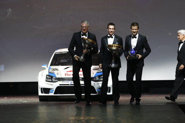 2013 FIA Gala Dinner and Awards. Paris, France. Friday 6th December 2013. World Rally Champions Sebastien Ogier and Julien Ingrassia on stage with their VW Polo WRC. World Copyright & Mandatory Credit: FIA. ref: Digital Image 11244233094_bbcf739484_o