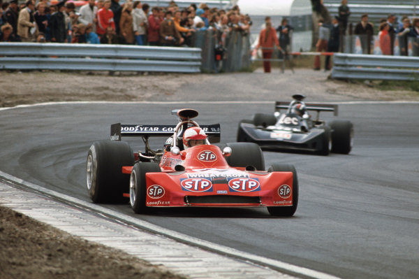 1973 Dutch Grand Prix. Zandvoort, Holland. 27th - 29th July 1973. Roger Williamson (March 731-Ford), DNF, due to fatal accident leads David Purley (March 731-Ford), who withdrew due to trying to help Williamson after his crash, action.  World Copyright: LAT Photographic. Ref:  73 HOL 42.