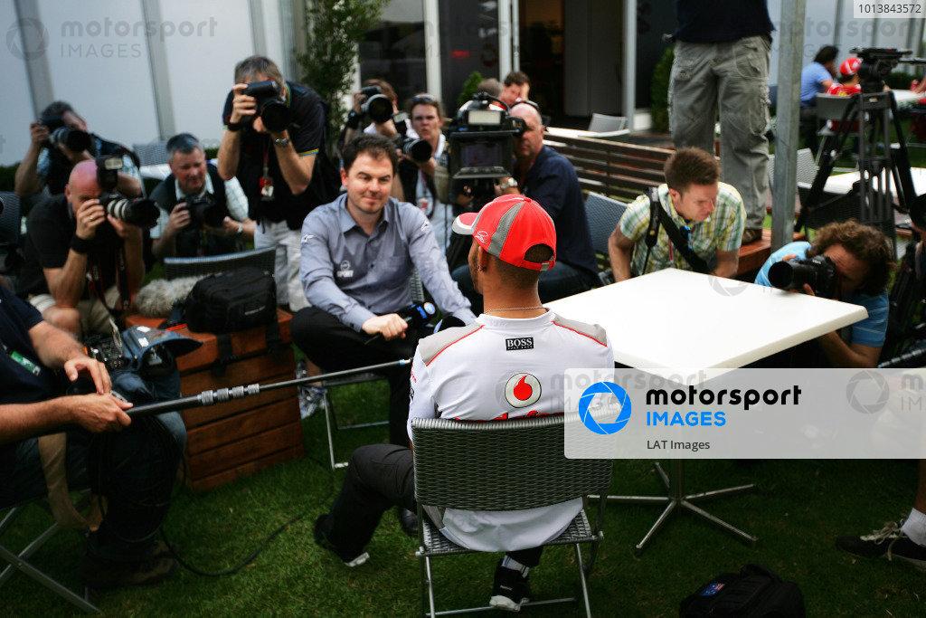 Albert Park, Melbourne, Australia15th March 2012.Lewis Hamilton, McLaren MP4-27 Mercedes. World Copyright:Glenn Dunbar/LAT Photographicref: Digital Image YY2Z7006